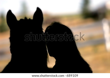 Horse and woman silhouette - represents love and care for an equine companion.