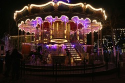 horse carousel by night.