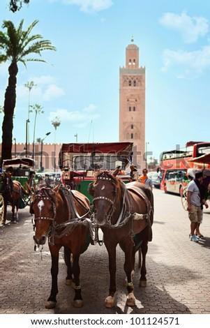 Horse carriage in a Moroccan street.