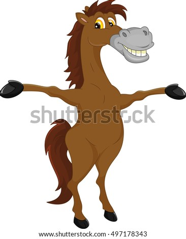 horse cartoon waving