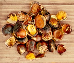 Horse chestnuts on a wooden cutting board. Cracked Roasted Chestnuts  with a shell Top view.  Autumn food concept