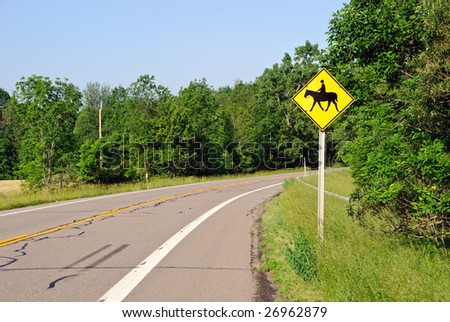 Horse Crossing Sign Horse Crossing Sign on Rural
