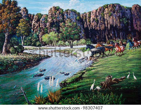 Horse crossing the river of oil painting