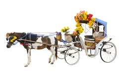 Horse drawn a chariot decorate with beautiful flower, Carriage Ride vintage style, vehicle for journey to see the city, Asia travel at Lampang in Thailand on isolated white background