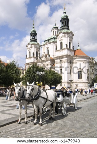 horse drawn carriage in the center of Prague old town