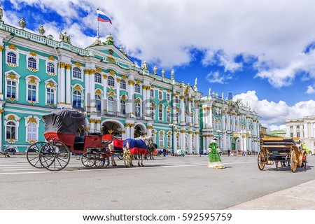 horse-drawn carriages on the Palace Square in St. Petersburg #592595759