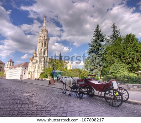 Horse driven carriage at Budapest, Hungary
