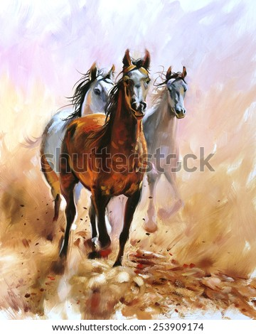 Horse equestrian passion oil painting
