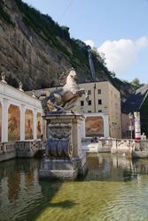 Horse fountain in Salzburg, Austria