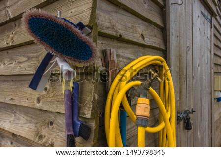 Horse grooming equipment, Drem Airfield, East Lothian, Scotland.