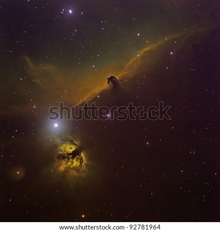Horse Head and Flame Nebula in the Hubble Palette