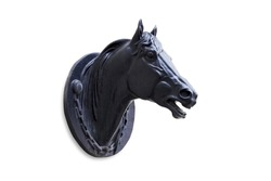 Horse head black sculpture isolated on white background