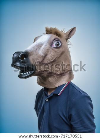 Horse Head Mask Portraiture  #717170551
