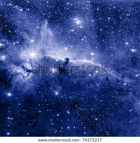 Horse Head nebula in blue color
