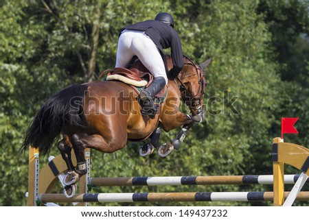 Horse jump a hurdle in a competition