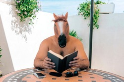 horse man sitting outdoors reading a book. fantasy and fiction literature concepts