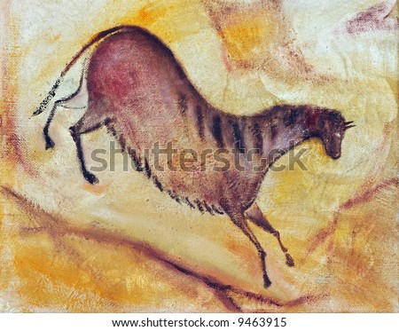 Horse  - oil painting like cave painting a la Altamira