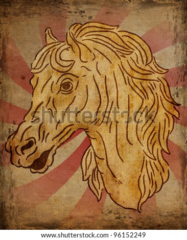 horse portrait ,old painting style