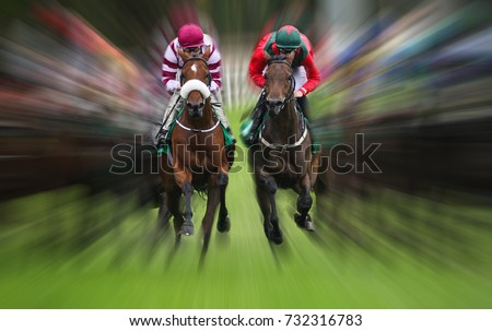 horse race action Motion blur effect  #732316783