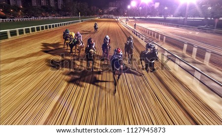 Horse race at night #1127945873