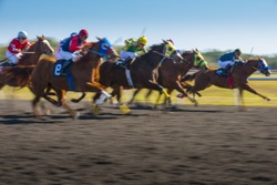 Horse Race colorful bright sunlit slow shutter speed motion effect fast moving thoroughbreds