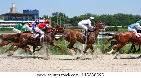 Horse race for the prize Caucasus,Russia.