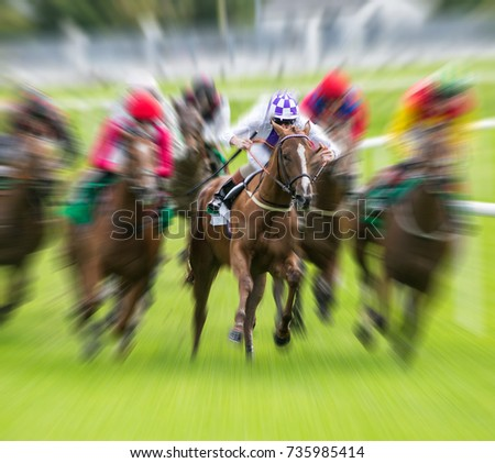 Horse race speed motion blur effect #735985414