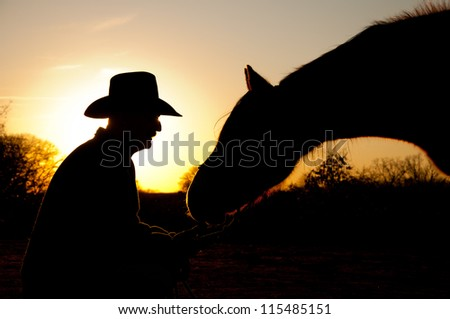 Horse reaching towards his trusted person, a man in cowboy hat, silhouetted against winter sunset