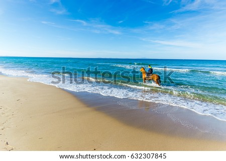 Horse ride at the beach in Sardinia