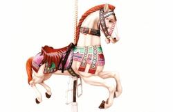 Horse ride isolated on white
