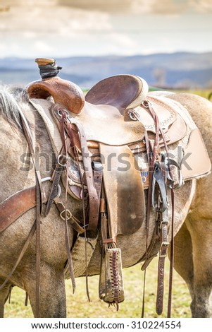 Horse saddle on the American ranch