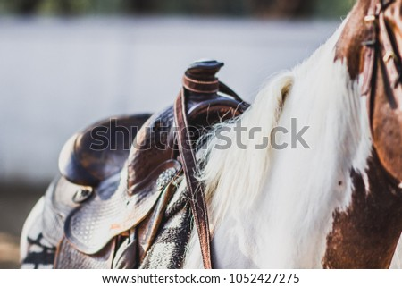 Horse saddlePlaced on a horse to make it more comfortable riding.In the farm , blurred , soft focus.