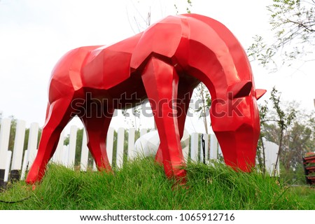 Horse sculpture in the park
