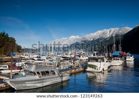 Horse Shoe Bay in West Vancouver, British Columbia, with ferry docking in the background.