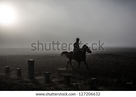 horse silhouette over mount bromo - stock photo
