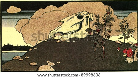 "horse skull on the hill - illustrations by Gregory Narbut Russian folk tale ""Mansion"", publisher Joseph Knebel, Moscow, 1909"