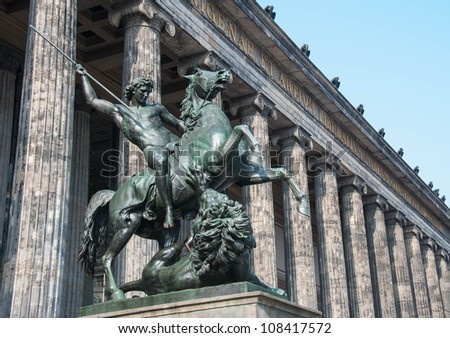 Horse statue at the door of the Altes Museum (Old Museum) in Berlin, Germany