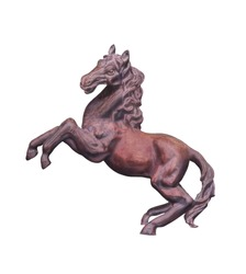 Horse statue isolated on white background with clipping path