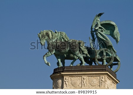 Horse statue on Heroes square in Budapest, Hungary