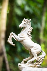 Horse statues made of stone in the garden