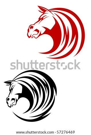 Horse tattoo symbol - also as emblem or logo template. Vector version also available