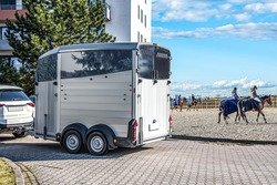 Horse vehicle . Carriage for horses . Auto trailer for transportation of horses .