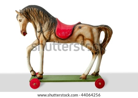 Horse wooden colorful toy for children retro vintage