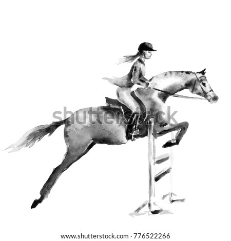 Stock Photo Horseback rider girl or woman and horse jumping in forest on white. Black and white monochrome watercolor or ink hand drawing art. Horseman on stallion. England equestrian sport fox hunting style