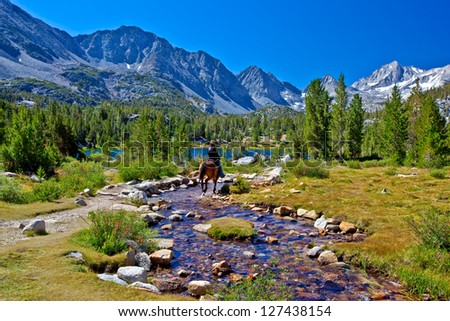 Horseback Rider in Mountains, Eastern Sierra, California