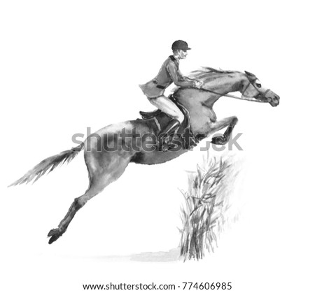 Stock Photo Horseback rider man and horse jumping in forest on white. Black and white monochrome watercolor or ink hand drawing illustration. Horseman on stallion. England equestrian sport fox hunting style