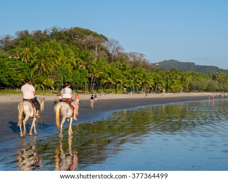 Horseback Riding in Costa Rica at Samara Beach #377364499