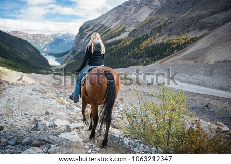 Horseback riding in Lake Louise, Banff National Park, Canadian Rockies