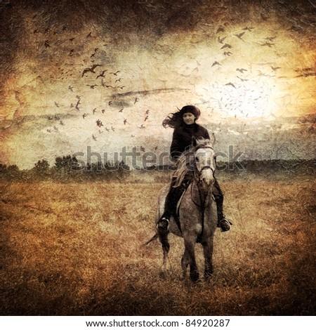 Horseback riding on autumn field #84920287