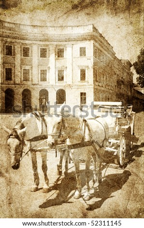 Horsedrawn carriages. Photo in vintage image style.